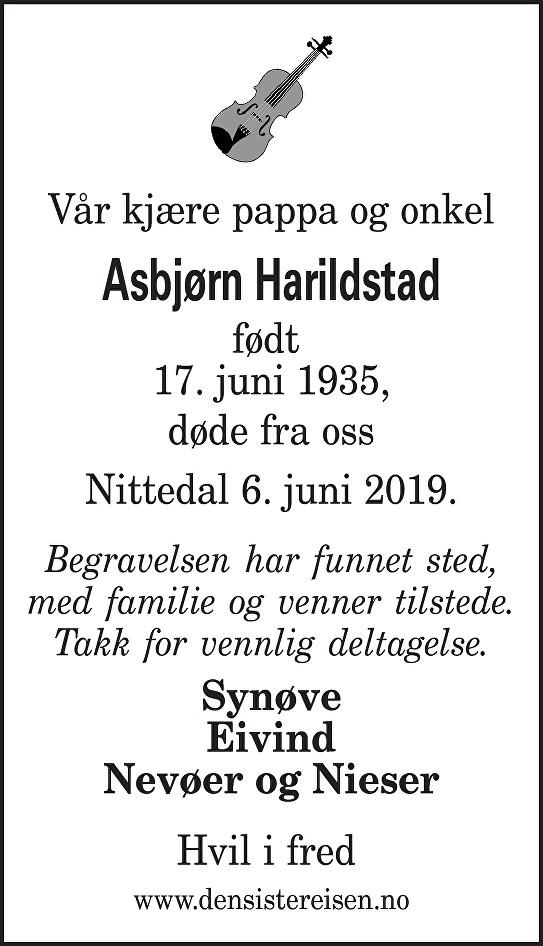 Asbjørn Harildstad Dødsannonse