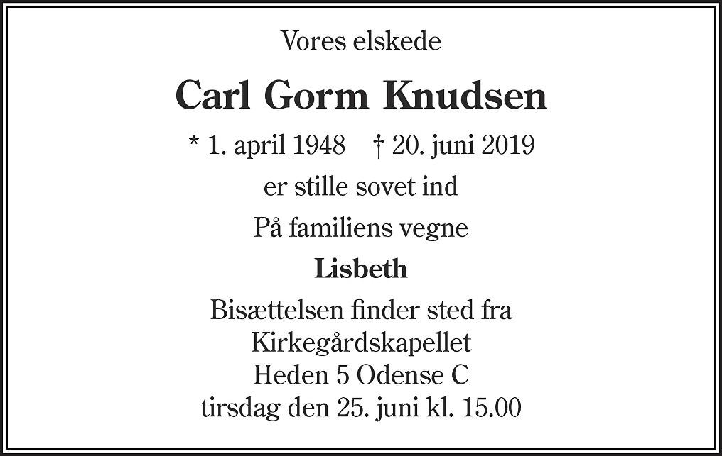 Carl Gorm  Knudsen Death notice