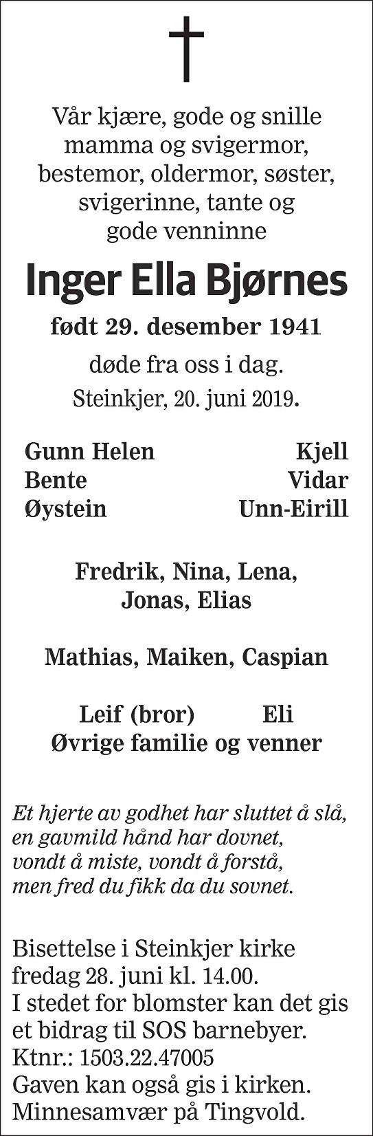 Inger Ella Bjørnes Dødsannonse
