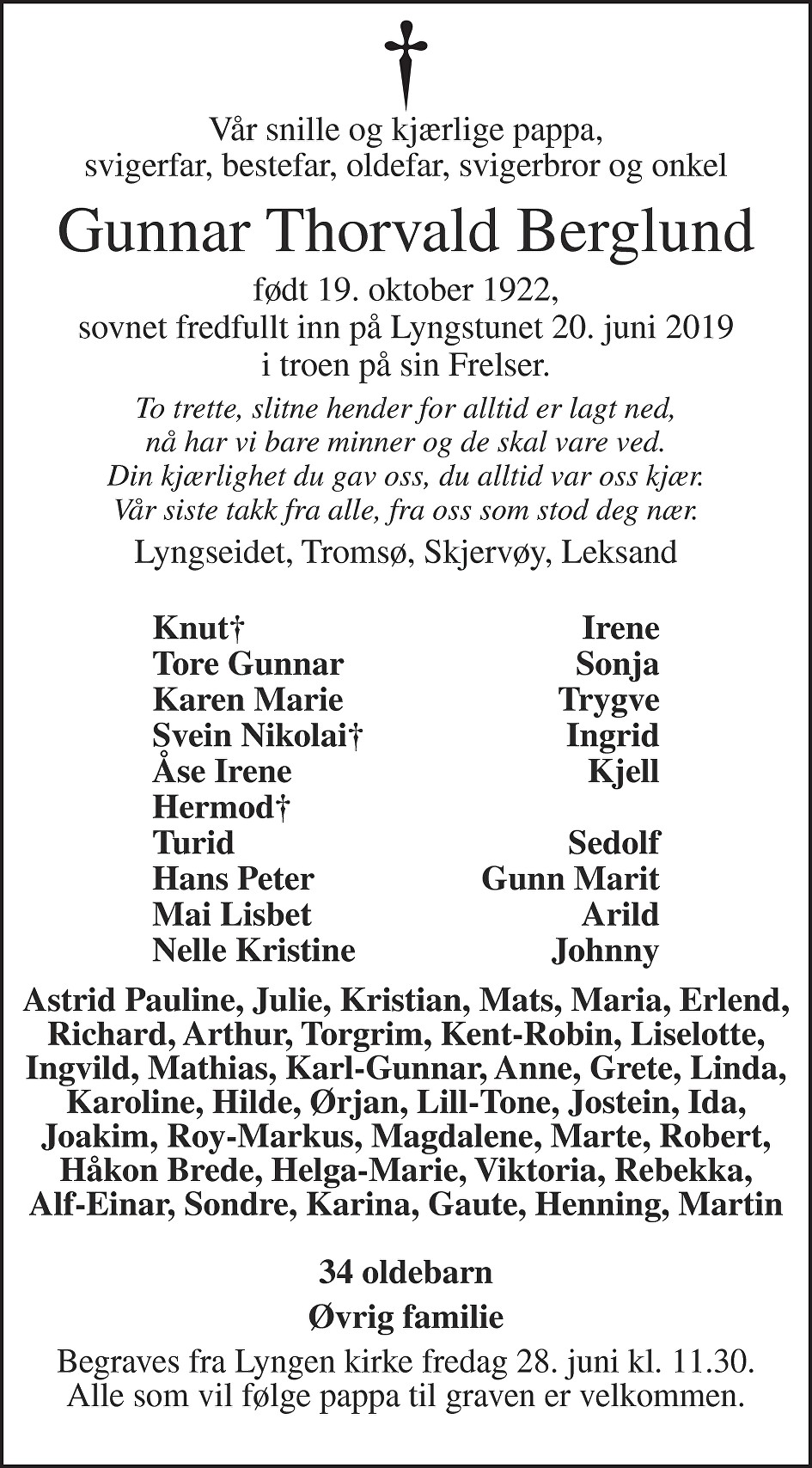 Gunnar Thorvald Berglund Dødsannonse