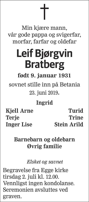 Leif Bjørgvin Bratberg Dødsannonse