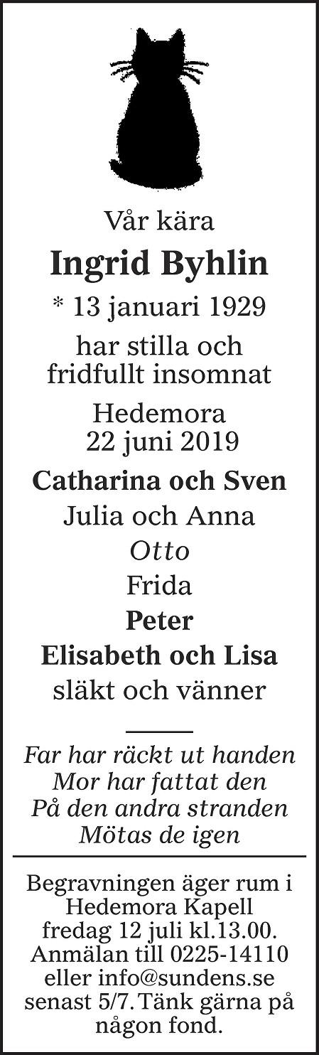 Ingrid Byhlin Death notice