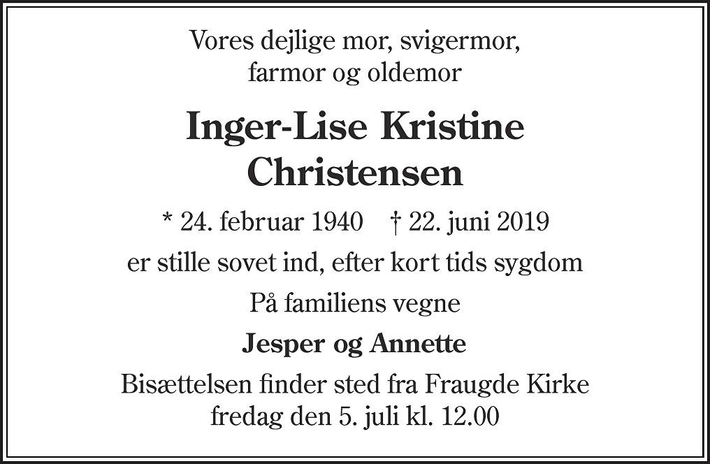 Inger Lise Kristine  Christensen Death notice