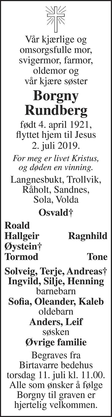Borgny Rundberg Dødsannonse