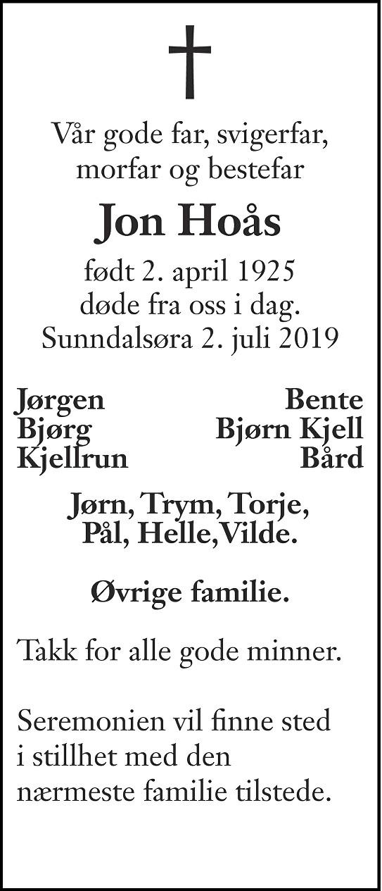 Jon Hoås Dødsannonse