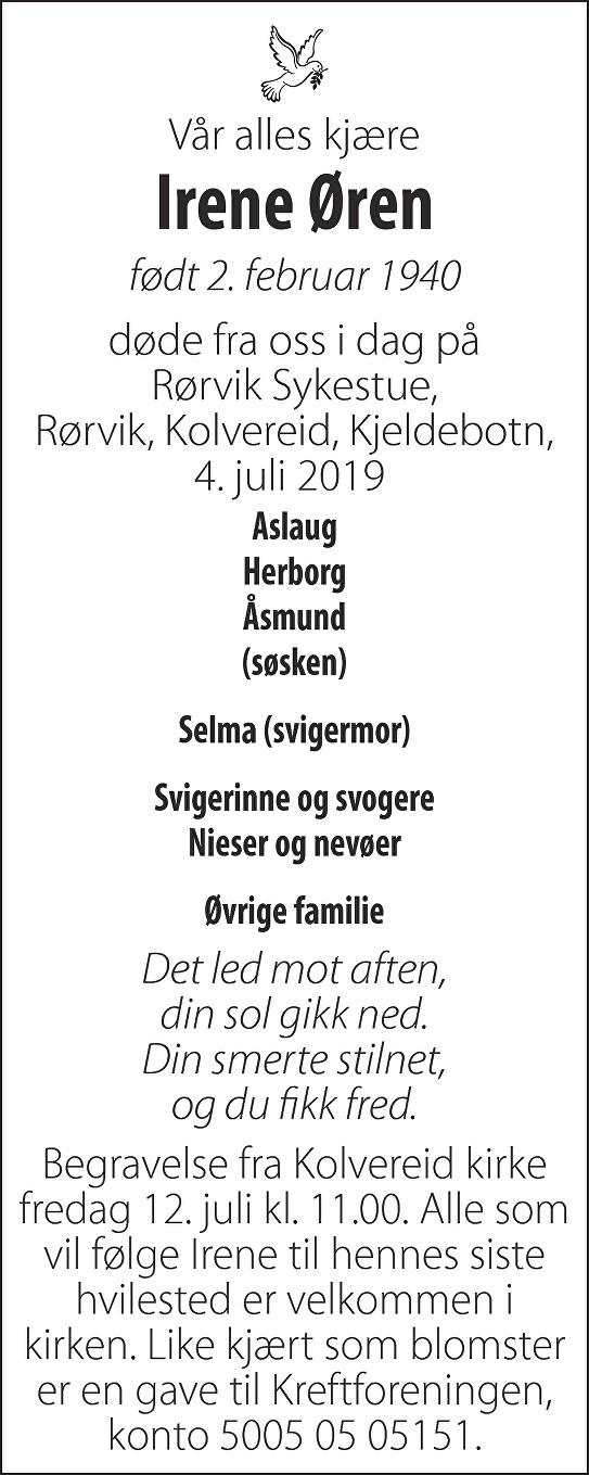 Irene Øren Dødsannonse