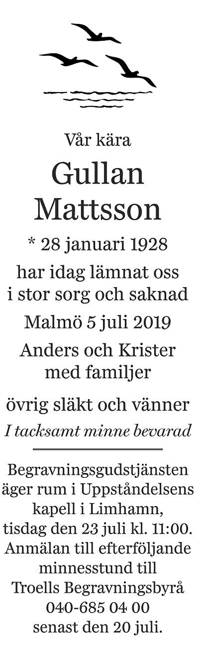 Gullan Mattsson Death notice