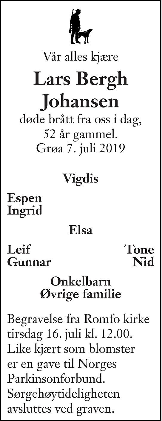 Lars Bergh Johansen Dødsannonse