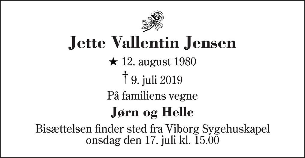 Jette Vallentin  Jensen Death notice