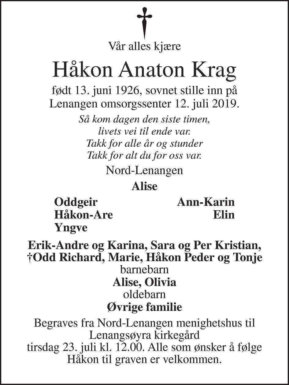 Håkon Anaton Krag Dødsannonse