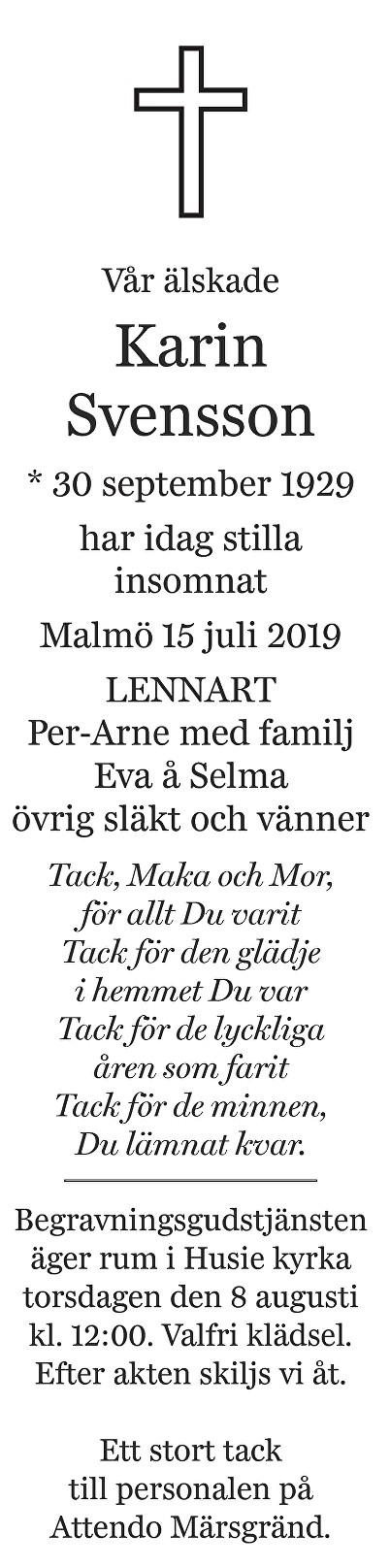 Karin Svensson Death notice