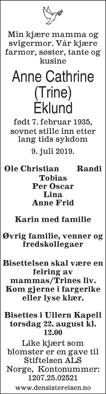 Trine Eklund Dødsannonse