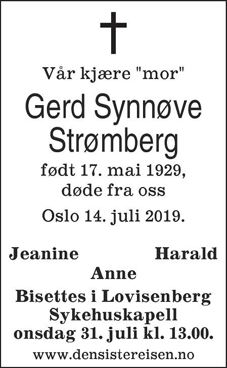 Gerd Synnøve Strømberg Dødsannonse