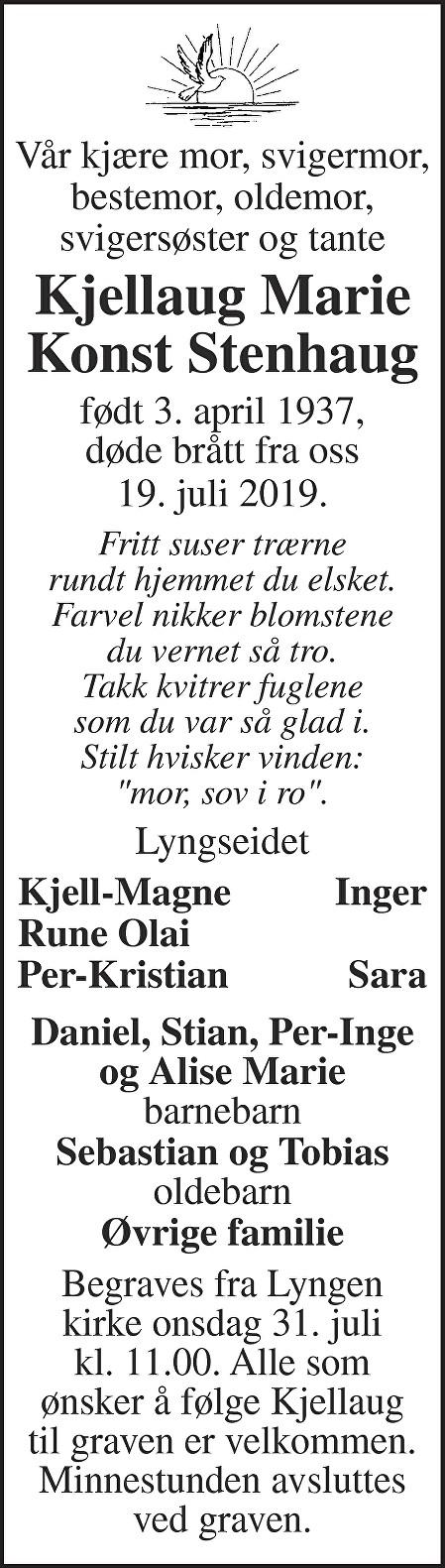 Kjellaug Marie Konst Stenhaug Dødsannonse