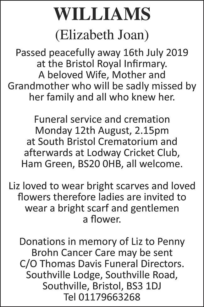 Elizabeth Joan Williams Death notice