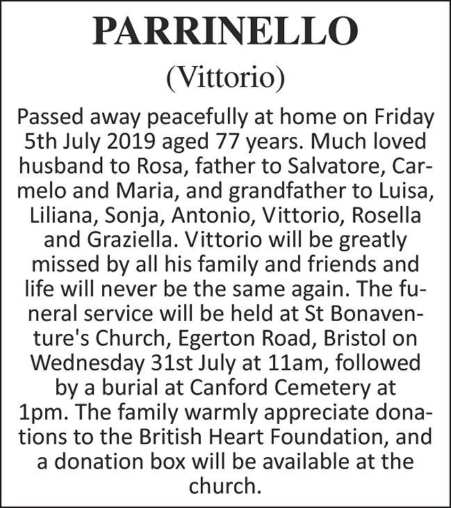 Vittorio Parrinello Death notice
