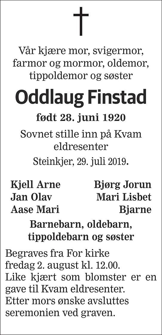 Oddlaug Finstad Dødsannonse
