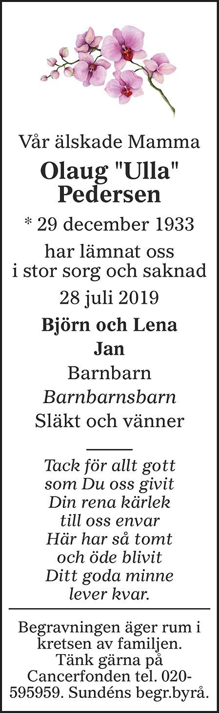 "Olaug ""Ulla"" Pedersen Death notice"