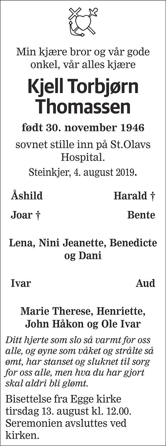 Kjell Torbjørn Thomassen Dødsannonse