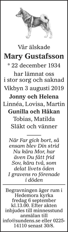 Mary Gustafsson Death notice