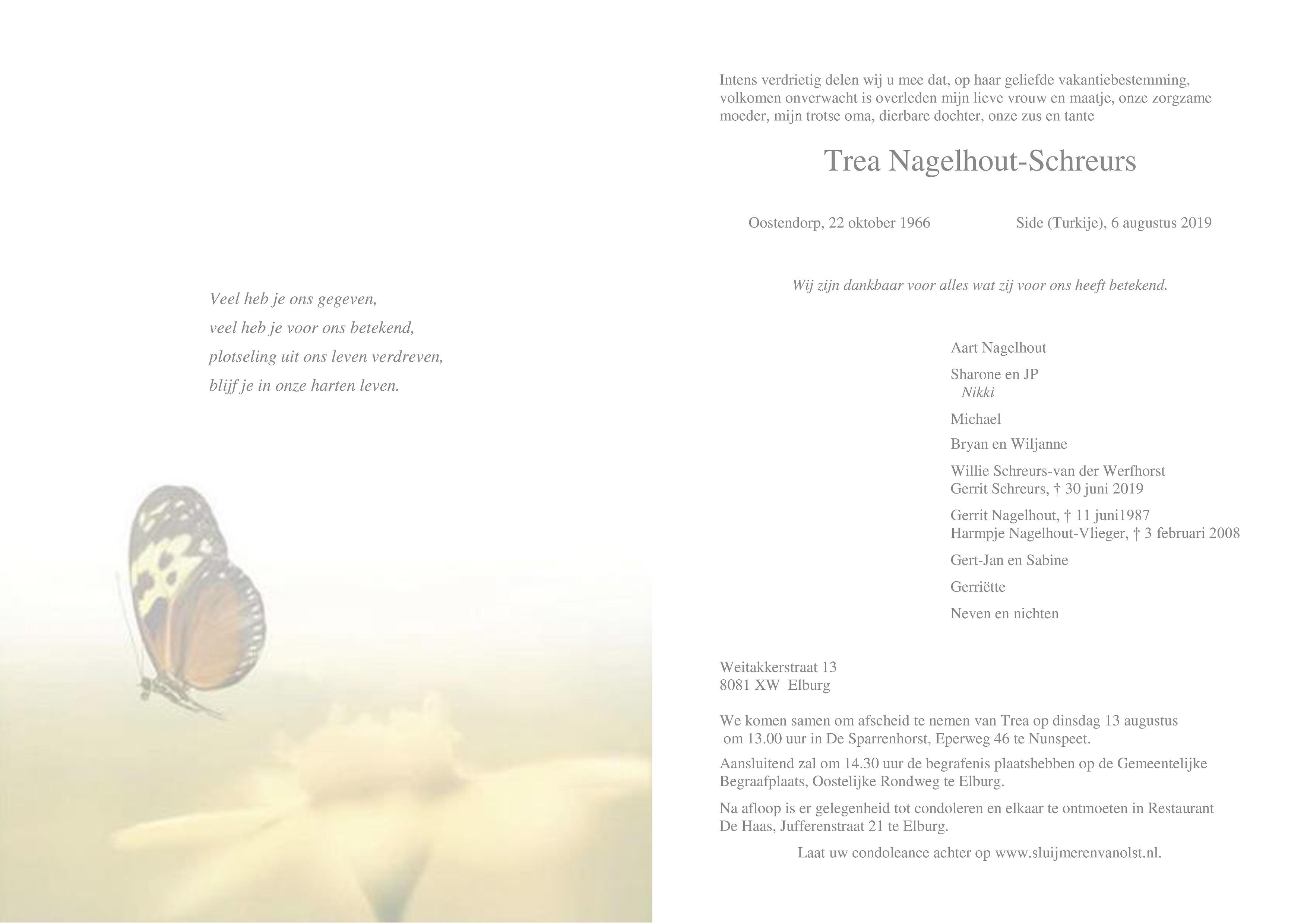 Trea Nagelhout-Schreurs Death notice