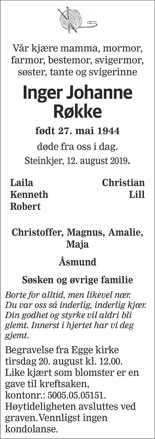Inger Johanne Røkke Dødsannonse