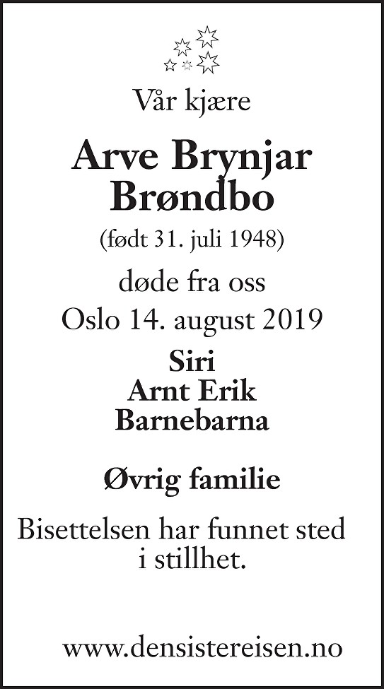 Arve Brynjar Brøndbo Dødsannonse