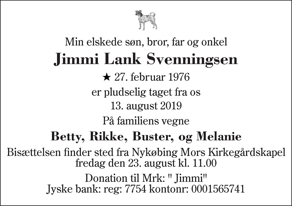 Jimmi Lank  Svenningsen. Death notice