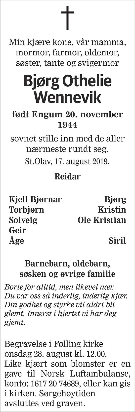 Bjørg Othelie Wennevik Dødsannonse