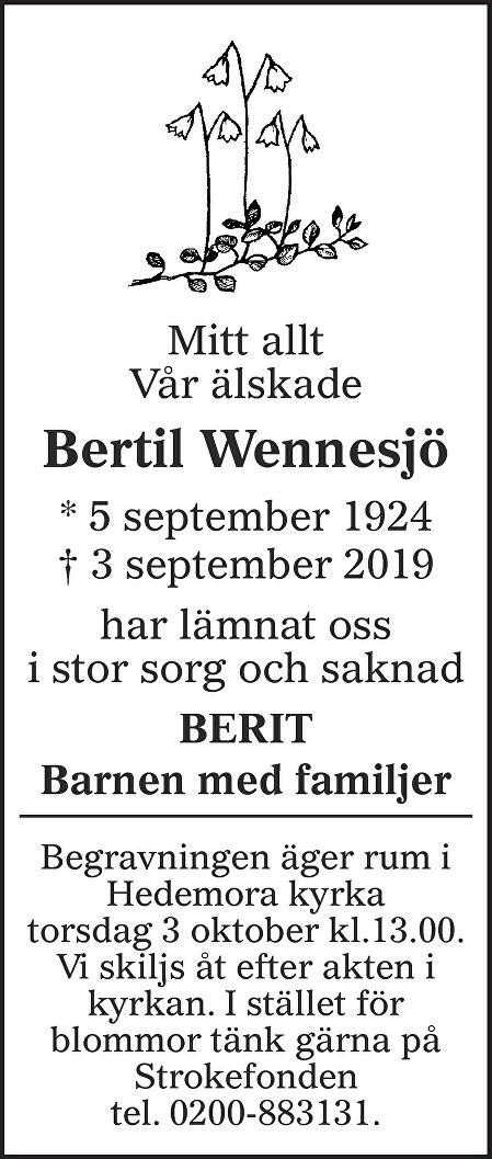 Bertil Wennesjö Death notice