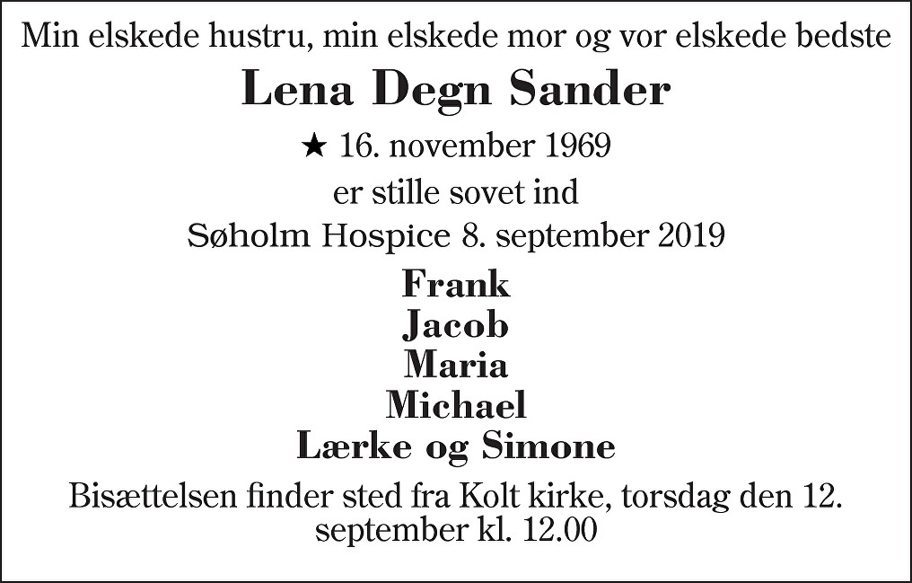 Lena Degn  Sander Death notice