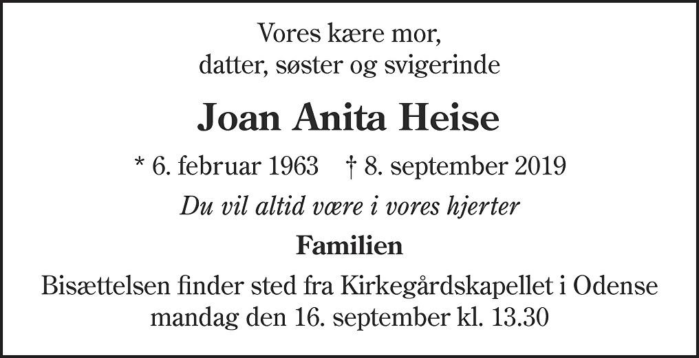 Joan Anita  Heise Death notice
