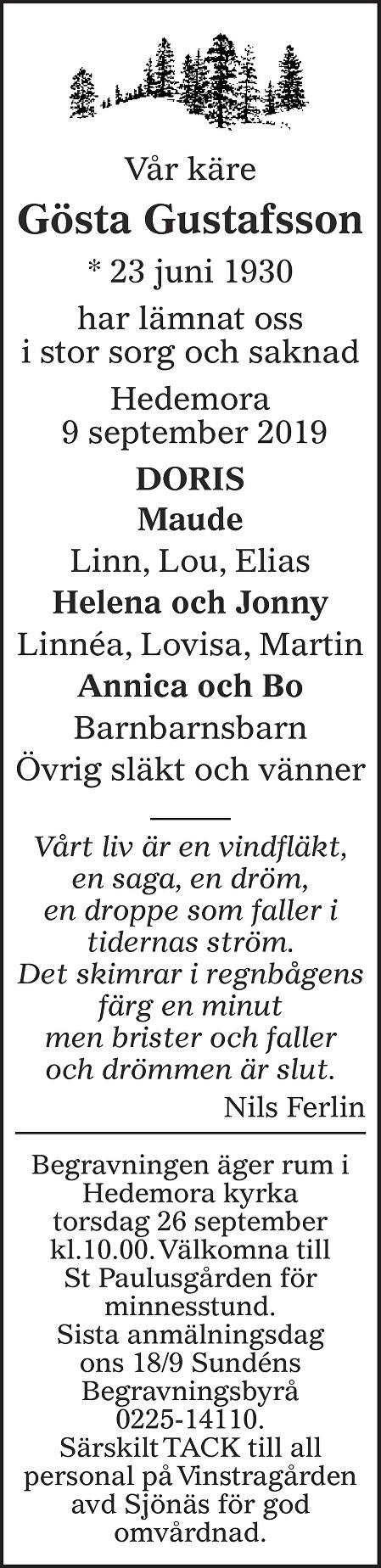 Gösta Gustafsson Death notice