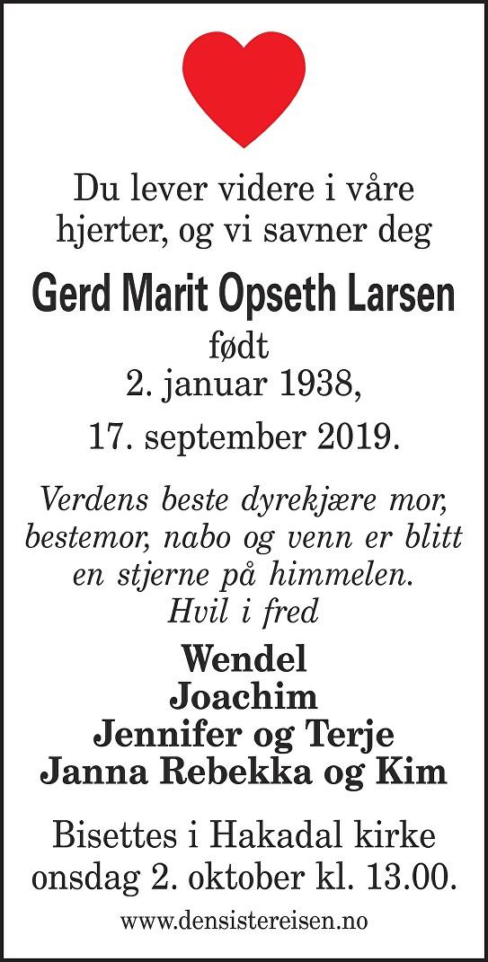 Gerd Marit Opseth Larsen Dødsannonse