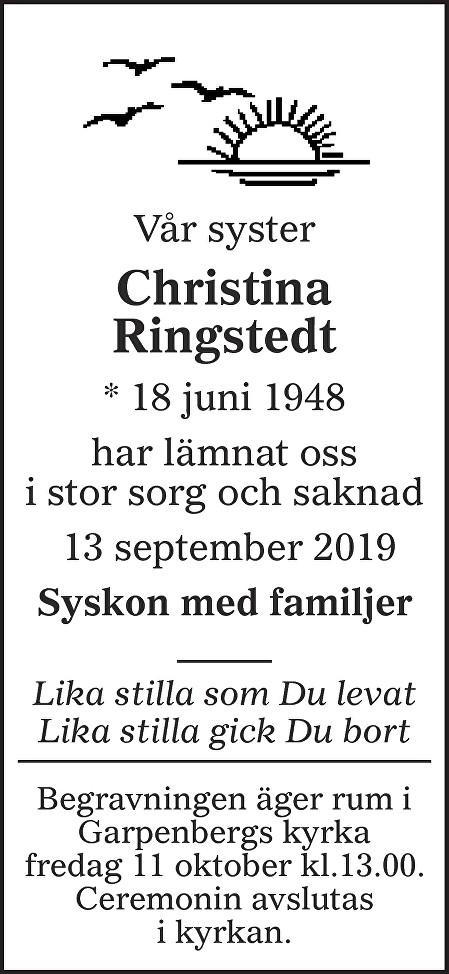 Christina Ringstedt Death notice