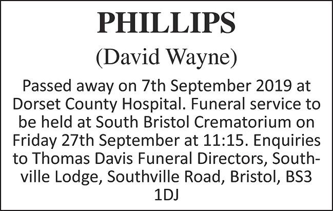 David Wayne Phillips Death notice