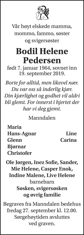 Bodil Helene Pedersen Dødsannonse