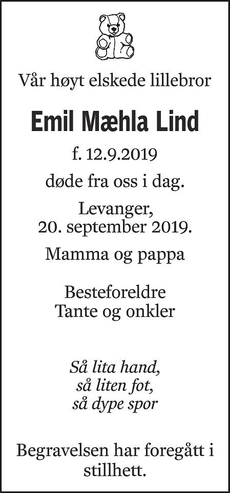 Emil Mæhla Lind Dødsannonse
