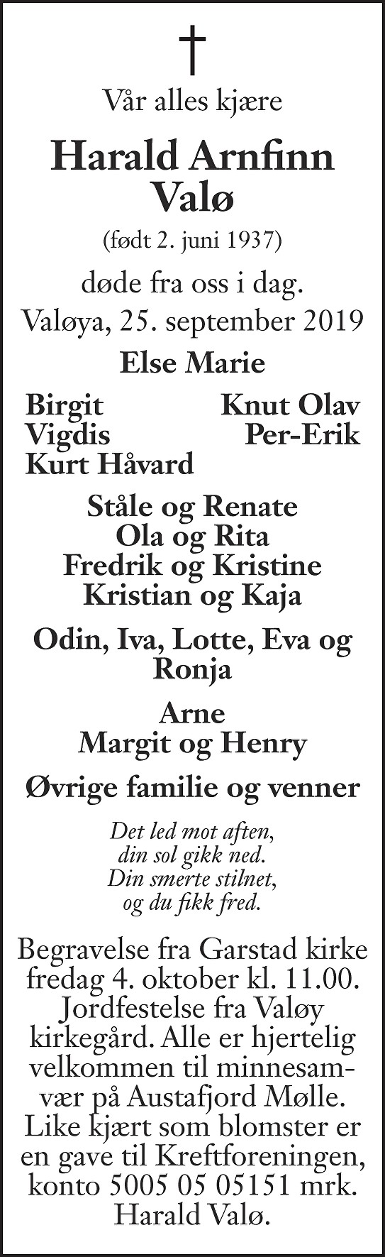 Harald Arnfinn Valø Dødsannonse