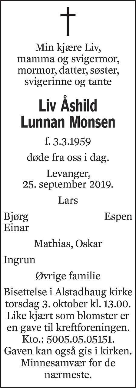 Liv Åshild Lunnan Monsen Dødsannonse