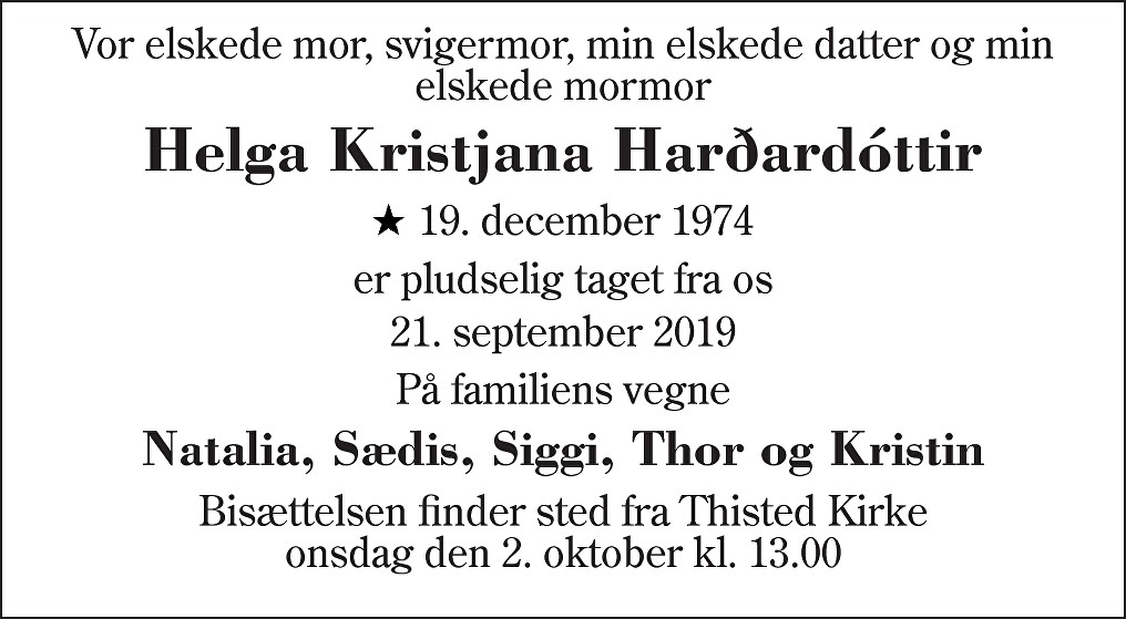 Helga Kristjana  Harðardóttir Death notice
