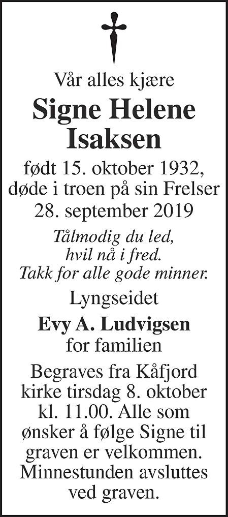 Signe Helene Isaksen Dødsannonse
