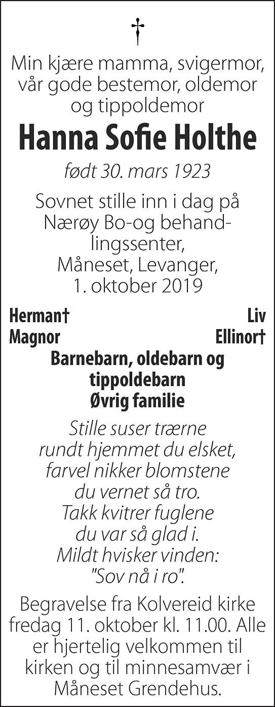 Hanna Sofie Holthe Dødsannonse