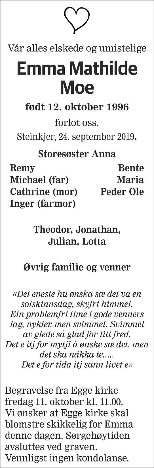 Emma Mathilde Moe Dødsannonse