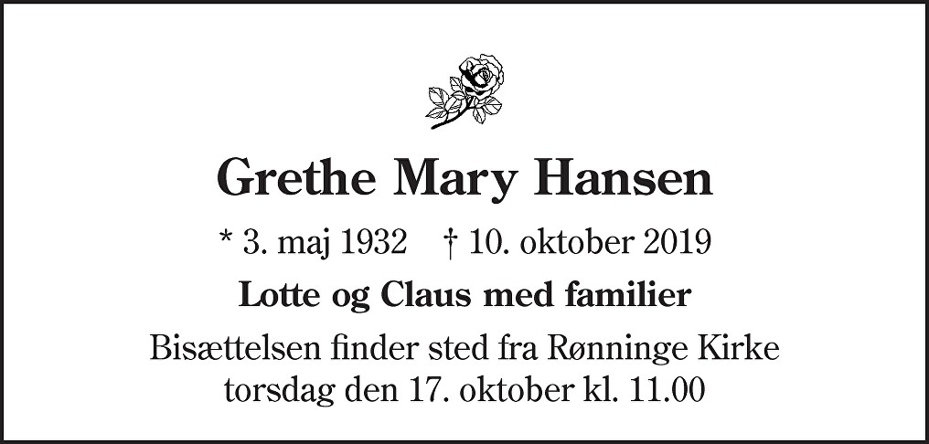 Grethe Mary  Hansen Death notice