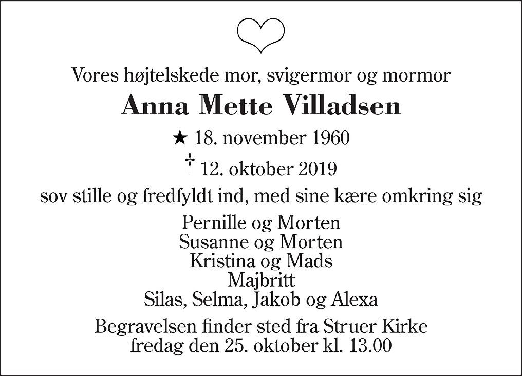 Anna Mette  Villadsen Death notice
