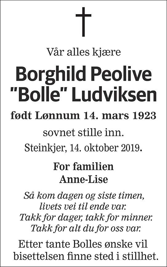 Borghild Peolive Ludviksen Dødsannonse