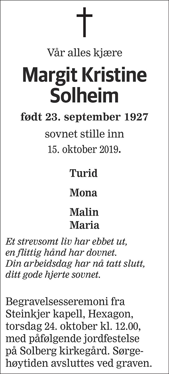 Margit Kristine Solheim Dødsannonse
