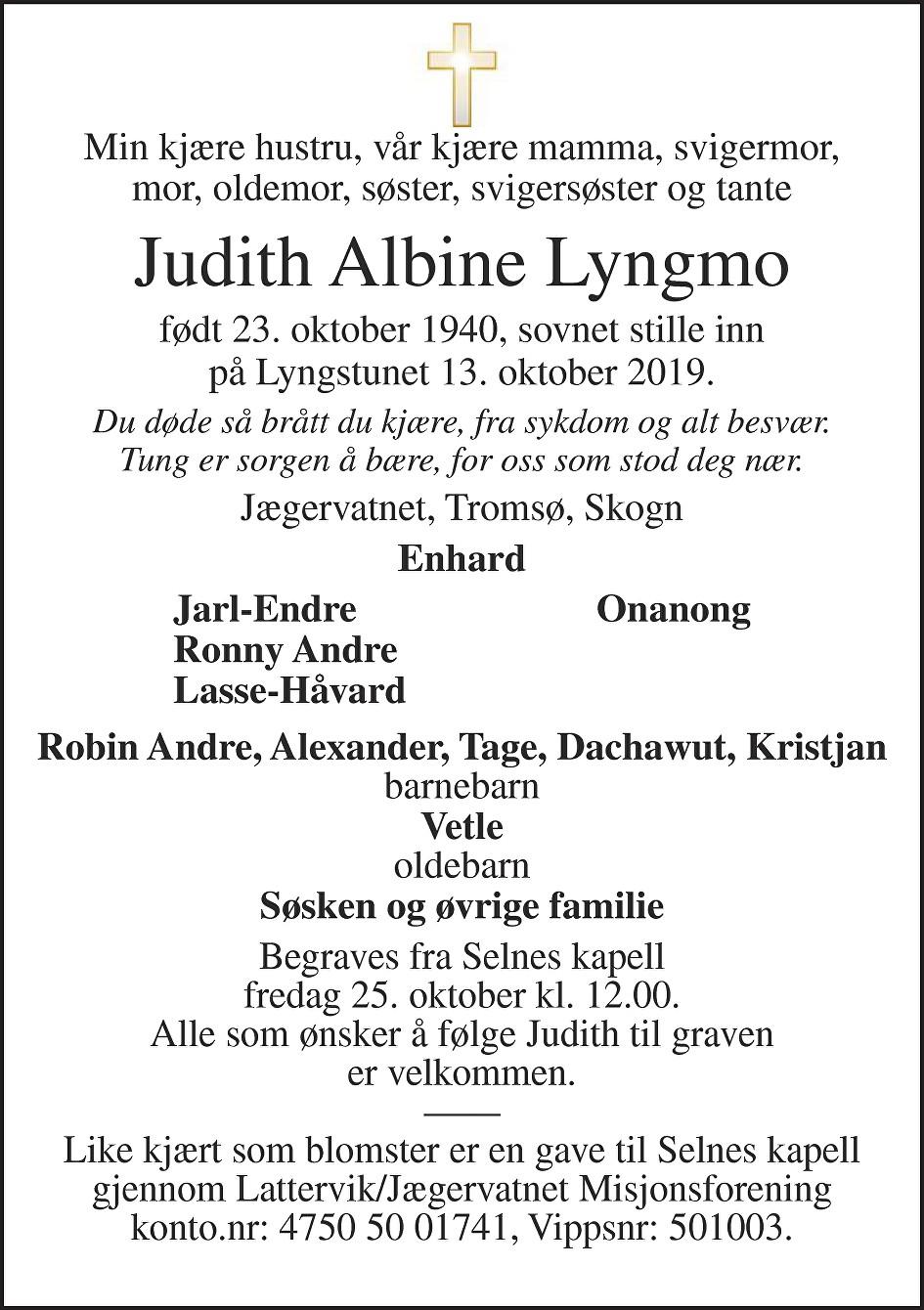 Judith Albine Lyngmo Dødsannonse
