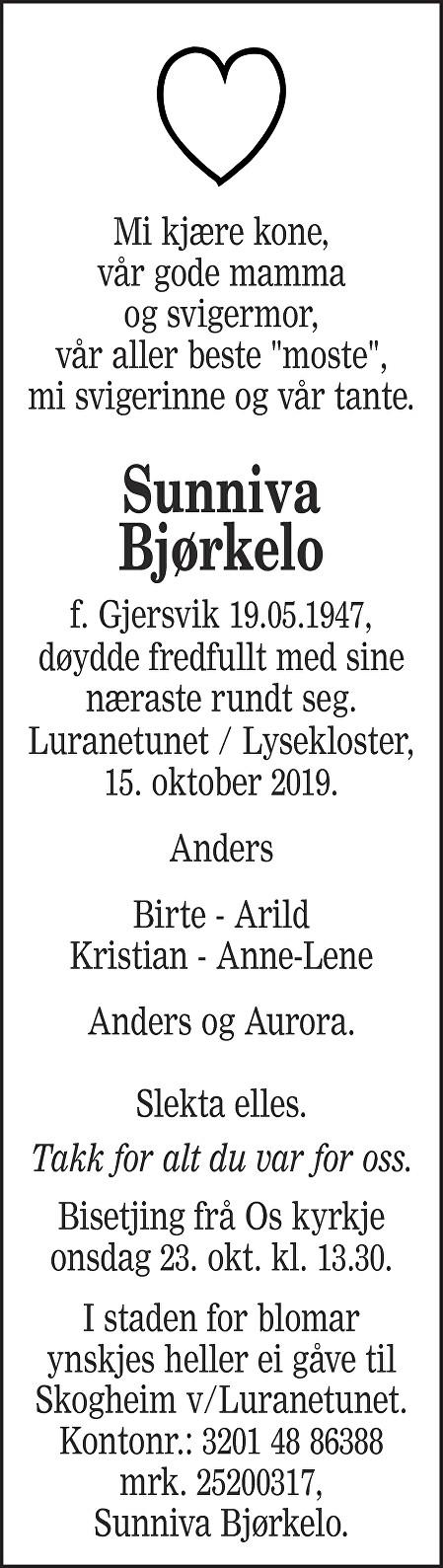 Sunniva Gjersvik Bjørkelo Dødsannonse